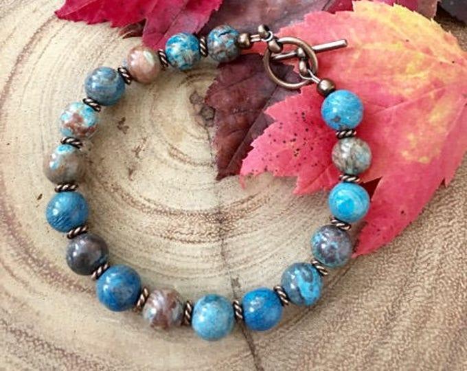 Bohemian Blue Sky Jasper Antique Copper Healing Bracelet