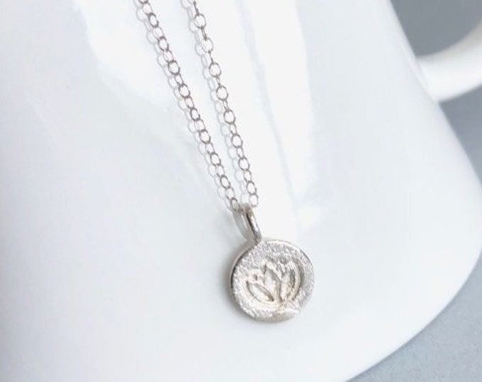 Yoga Lotus Necklace Sterling Silver
