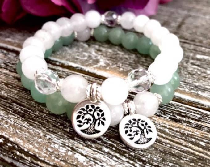 Silver Tree of Life Bracelet Stack