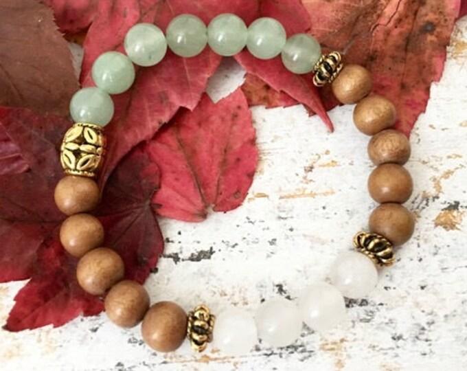 Sandalwood Beaded Bracelets - Wooden Beaded Bracelet -Sandalwood Mala Bracelet -Spiritual Bracelet Gift for Women - Spiritual Bead Bracelet
