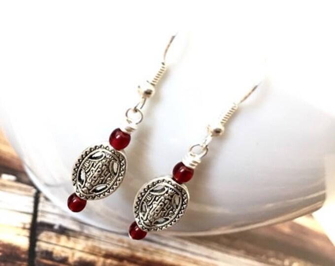 Silver Oval Medallion Czech Glass Dangle Earrings