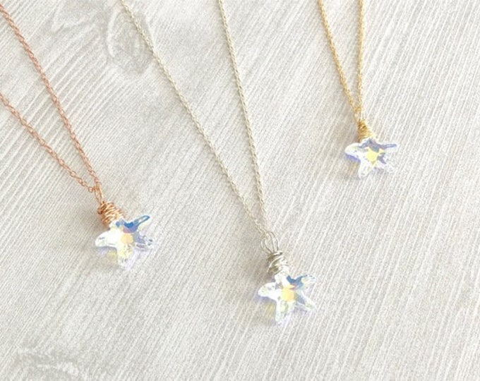 Crystal Starfish Necklace for Women