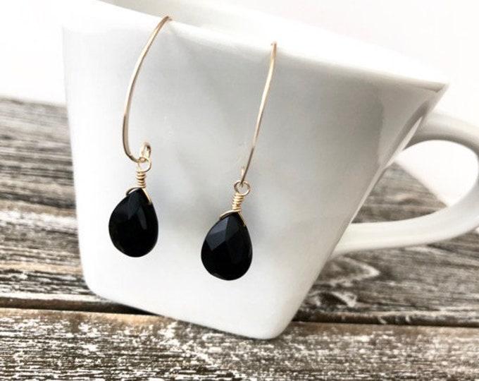 Minimalist Black Onyx 14K Gold Filled Teardrop Briolette Earrings