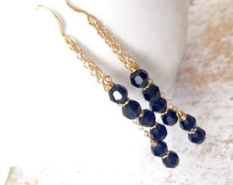 Indigo Crystal Gold Chain Dangle Earrings