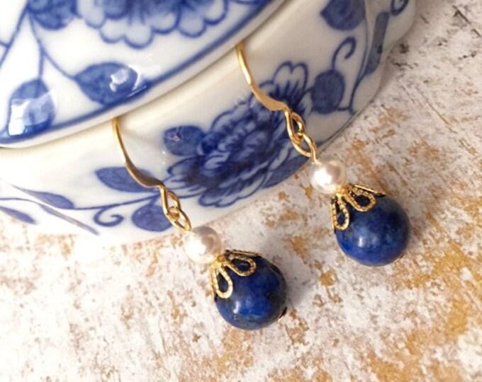 Lapis Lazuli Gold Dangle Earrings