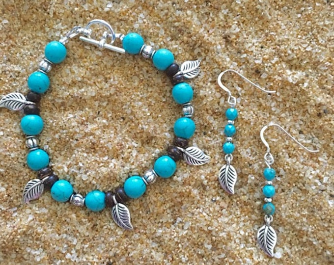 Turquoise Blue and Silver Leaf Jewelry Set