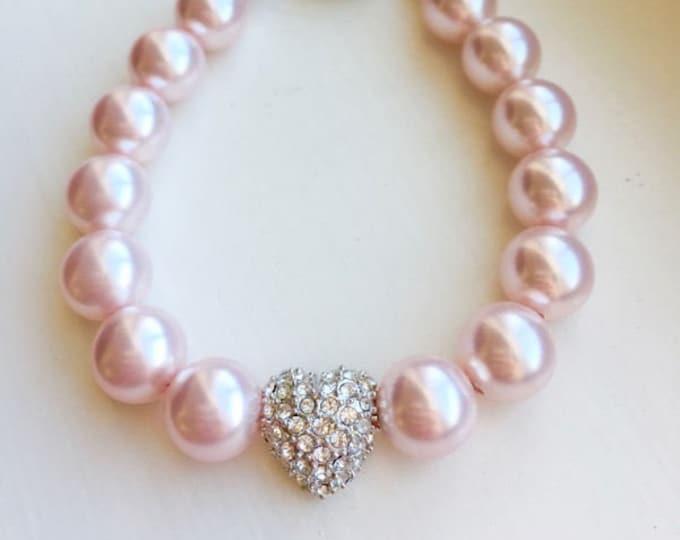 Pink Swarovski Pearl Crystal Heart Bracelet