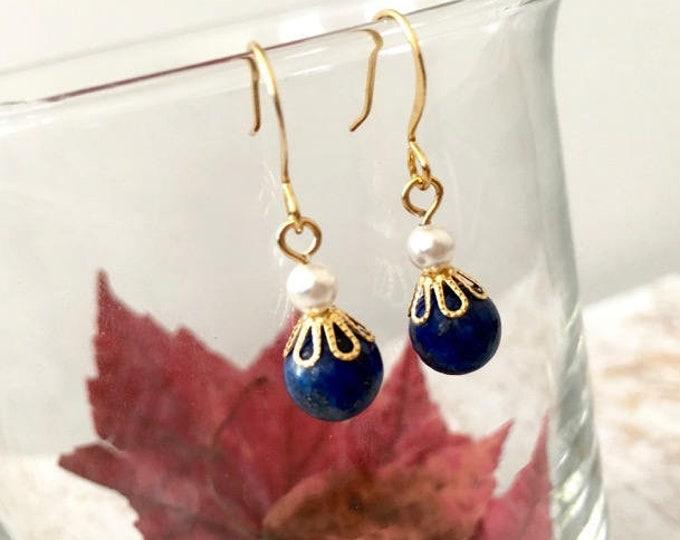 Simple Blue Lapis Lazuli Jewelry Earrings