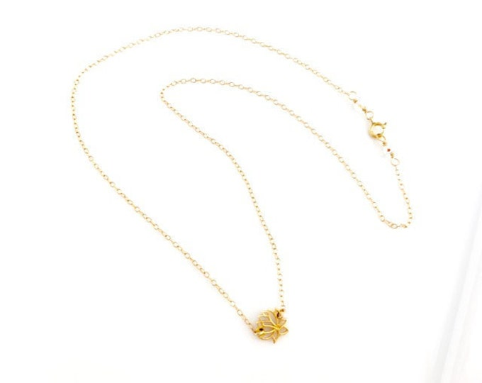 Gold Lotus Necklace for Women