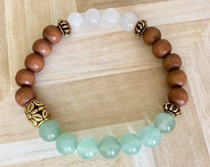 Sandalwood Mala - Green Beaded Bracelet Gift - Wood Bead Bracelet - White Quartz Jewelry Bracelet - Healing Bracelet Women Gift - Meditation