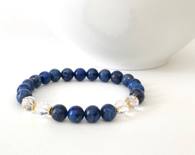 Lapis Lazuli Gemstone Bead Bracelet - Lapis Lazuli Gold Jewelry - Lapis Lazuli Gift Women - Gemstone Lapis Lazuli Bracelet - Lapis Lazuli