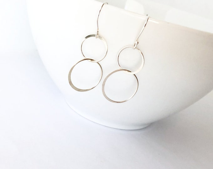 Sterling Silver Hammered Circle Earrings