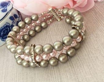 Platinum and Pink Swarovski Pearl Bracelet, Cuff Bracelet, Wedding Jewelry, Multistrand Bracelet, Mother of the Bride, Mother of the Groom