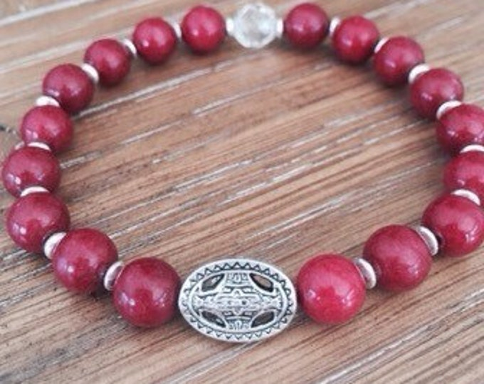Red Mountain Jade Silver Medallion Bracelet
