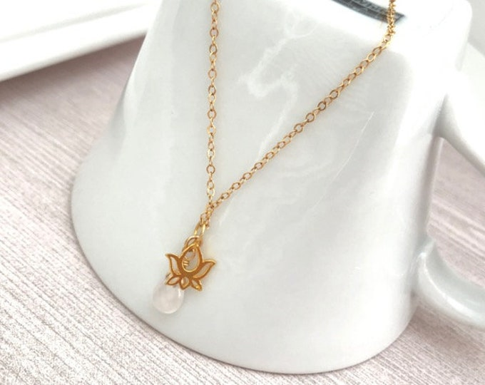Lotus Flower Necklace- Dainty Gold Lotus Necklace - Yoga Lotus Necklace Gift - Gemstone Lotus Necklace - Yoga Necklace for Women - Yoga Gift