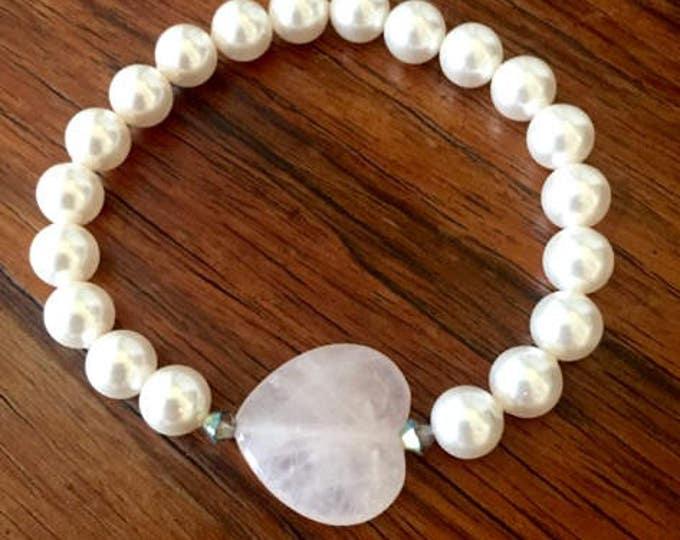 Swarovski Pearl Pink Heart Bridesmaid Bracelet
