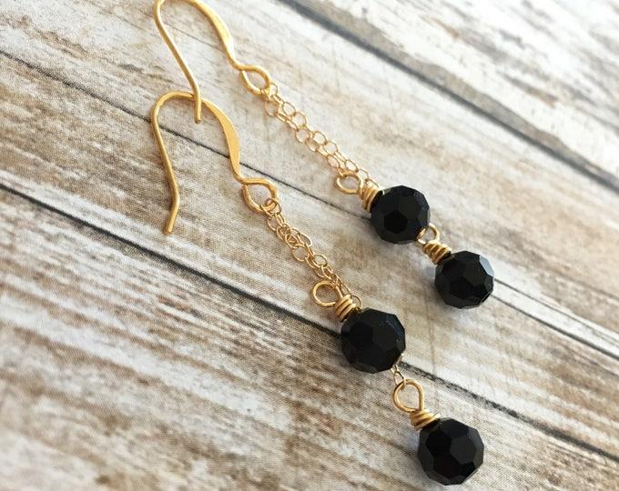 Black Swarovski Crystal Gold Chain Earrings