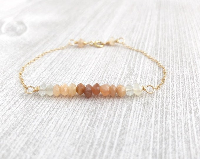 Moonstone Gold Chain Bracelet