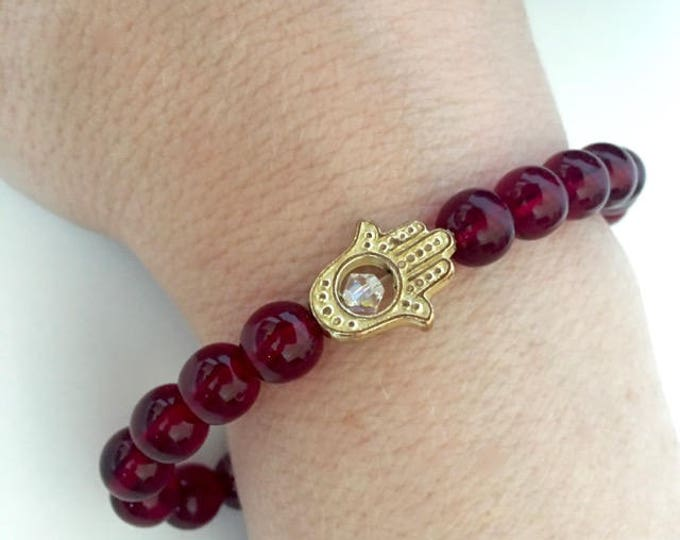 Garnet Czech Glass Gold Hamsa Protection Bracelet