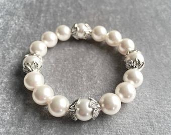 Swarovski Pearl Antique Silver Leaf Bracelet, Wedding Jewelry, Bridal Bracelets, Gifts for Her, Pearl Bracelet, Swarovski Pearls