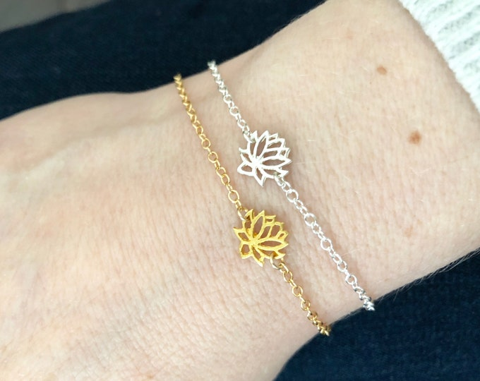 Gold Lotus Flower Bracelet for Women