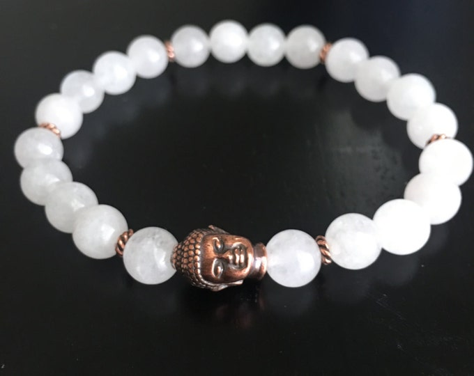 Snow Quartz Copper Buddha Yoga Bracelet