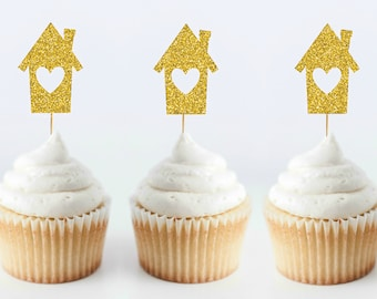 Set of 6 Glitter House Cupcake Toppers - Housewarming Cupcake Toppers - New House Party - Housewarming Party - Home Sweet Home