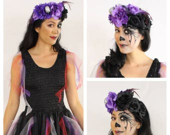 Adult Halloween Costume ~Cinco De Mayo Day of the Dead  Headpiece ~ Dark Fairy ~  Theatre ~ Renaissance ~ Gothic ~Steampunk