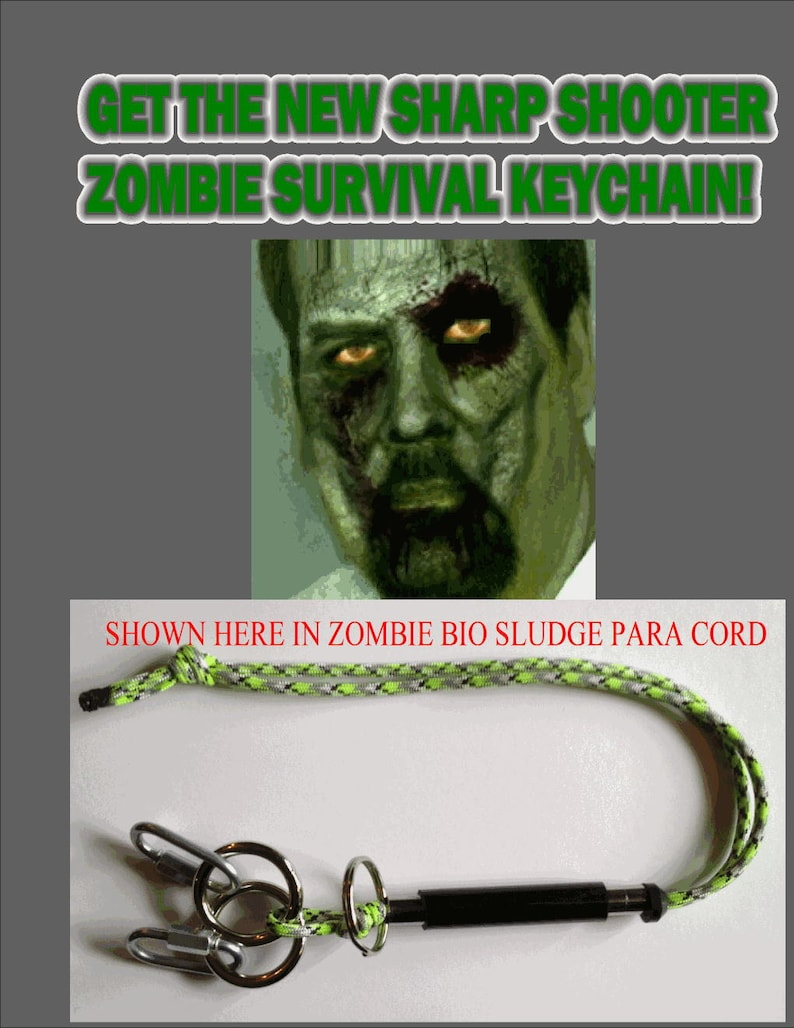 Sharp Shooter Zombie Survival Keychain With Free Instruction image 0
