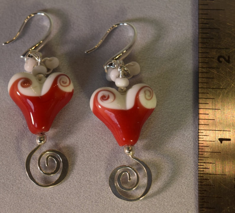 Red White Heart Handmade Lampwork Glass Bead Hearts Earrings Lipstick Red Drop Style Earrings White Accent Beading Silver Tone Findings