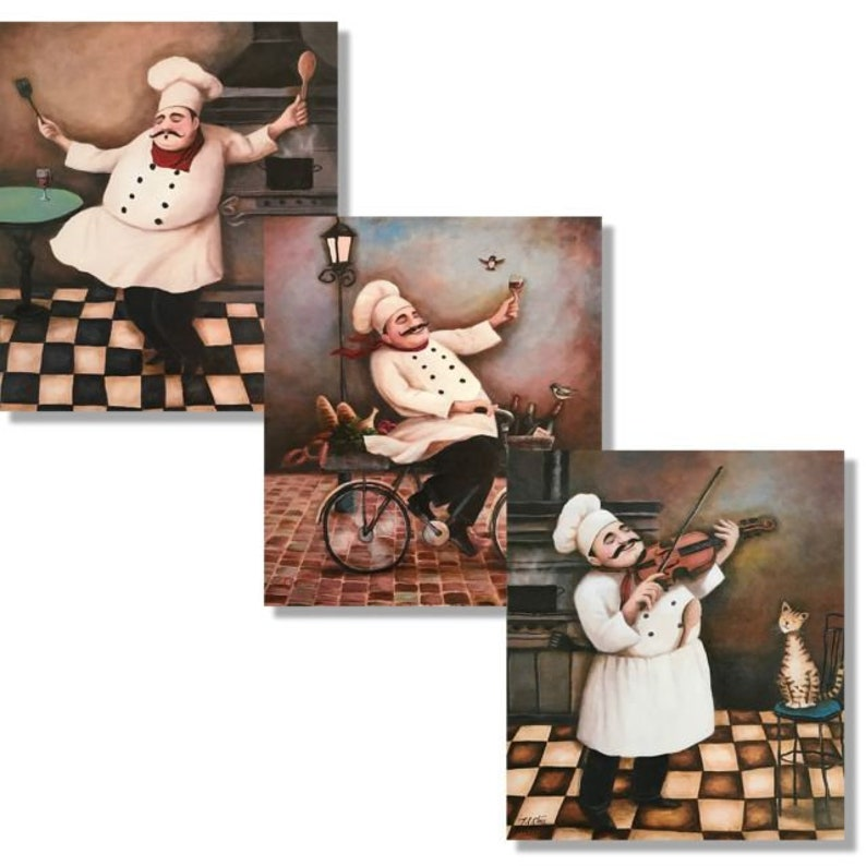 Set of 3 Jolly Chefs Prints Set 8x10 Kitchen Decor Wall ...