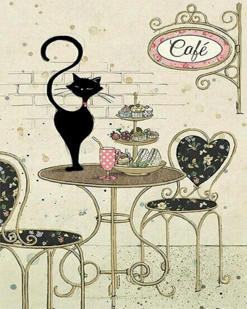 Parisian Cat Drawing Print Kitchen Decor Wall Art Gift For A Etsy