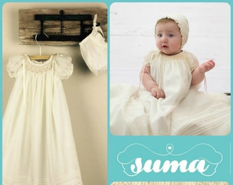 cbf28048f Christening Gown, Cotton Baptism Gown, Girls Baptism Dress, Dedication  Dress, Ivory, Long Christening Gown with Bonnet