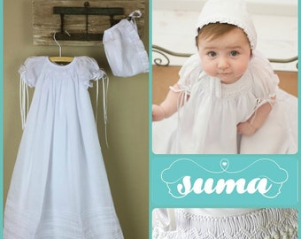 6ece6060 Baptism Gown White Cotton, Long Christening Gown with Bonnet , Hand Smocked