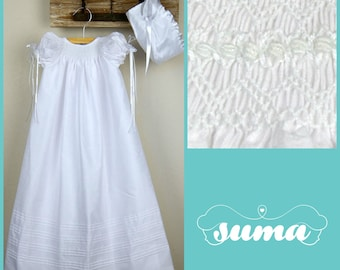 dd1e6c19e Christening Gown, Baptism dress, Gown with Bonnet Shantung Fabric