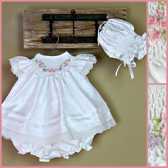 afe08fa59 Baby Girl Christening Dress with bonnet and bloomers 0-3