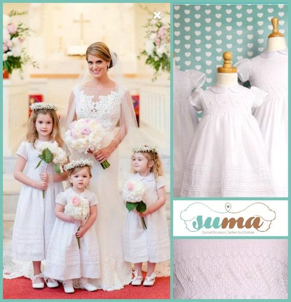 Flower Girl Dresses Smocked White Cotton Fabric Completely Etsy