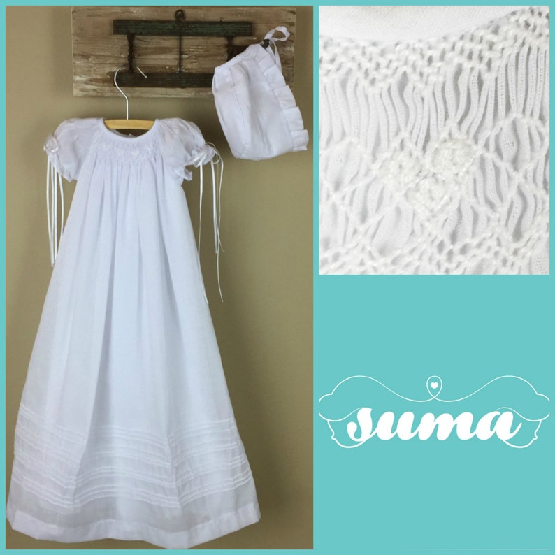 14f05b237 Baptism Gown White Cotton Long Christening Gown with