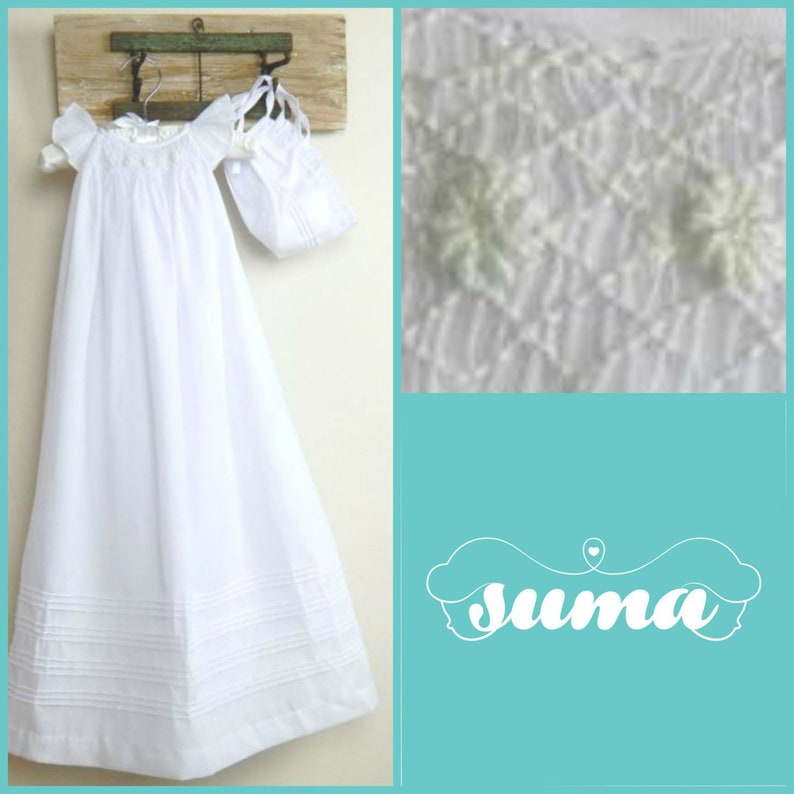 2c3dc0b62 Girls Christening Gown Baptism Gown White Cotton Dress with
