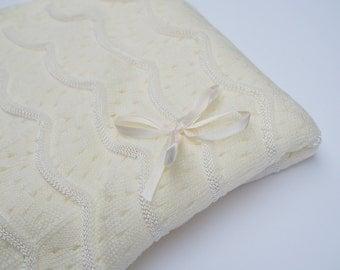 Ivory Christening Blanket -  Baptism Blanket - Blessing Blanket - Dediction Blanket -  Take Home Baby  BLanket - Shawl baby White or Ivory
