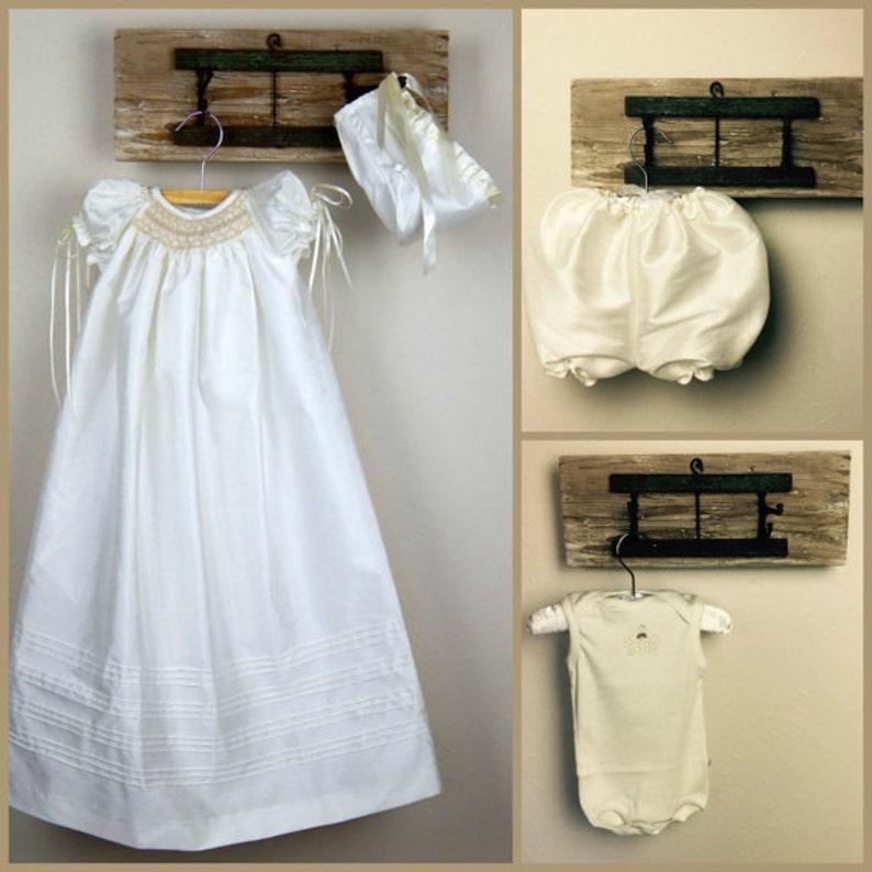 Lange Elfenbein Taufe Kleid Mädchen Shantung Taufe Kleid ...