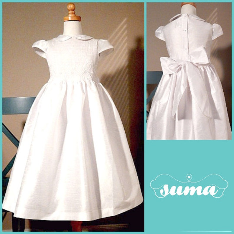9da1b9ac9 Flower Girl Dresses White Shantung Smocked Dresses add