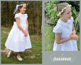 White Shantung Fabric, First Communion Dress, Hand Made, Smocked Dresses sizes 6 -12