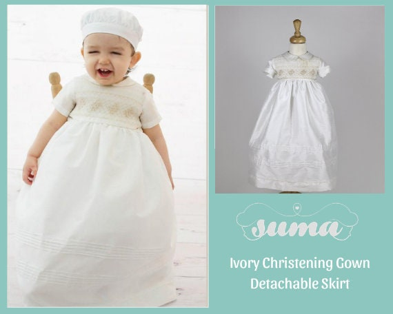 CHRISTENING GOWN ROMPER SUIT DETACHABLE SKIRT BOYS BAPTISM PERSONALISED