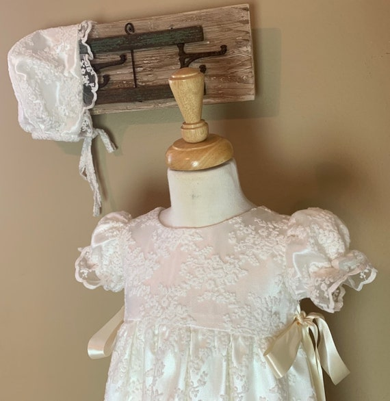 Baby Girls White Shantung Long Dress Gown Christening Baptism Dedication Abigail