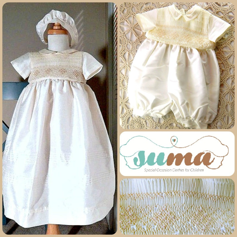 631bbdc25 Baby Boy Christening Gown Romper with Detachable Skirt Ivory