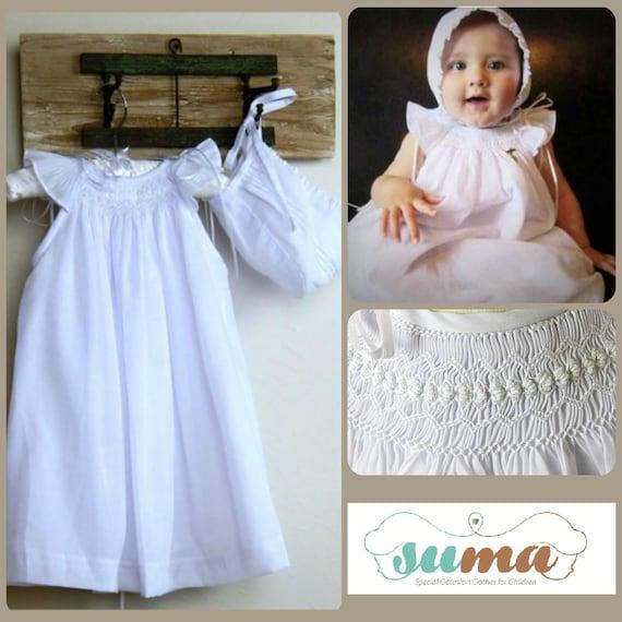 Baby Mädchen Taufe Kleid Taufe Mit Häubchen Weiße Baumwolle Smok