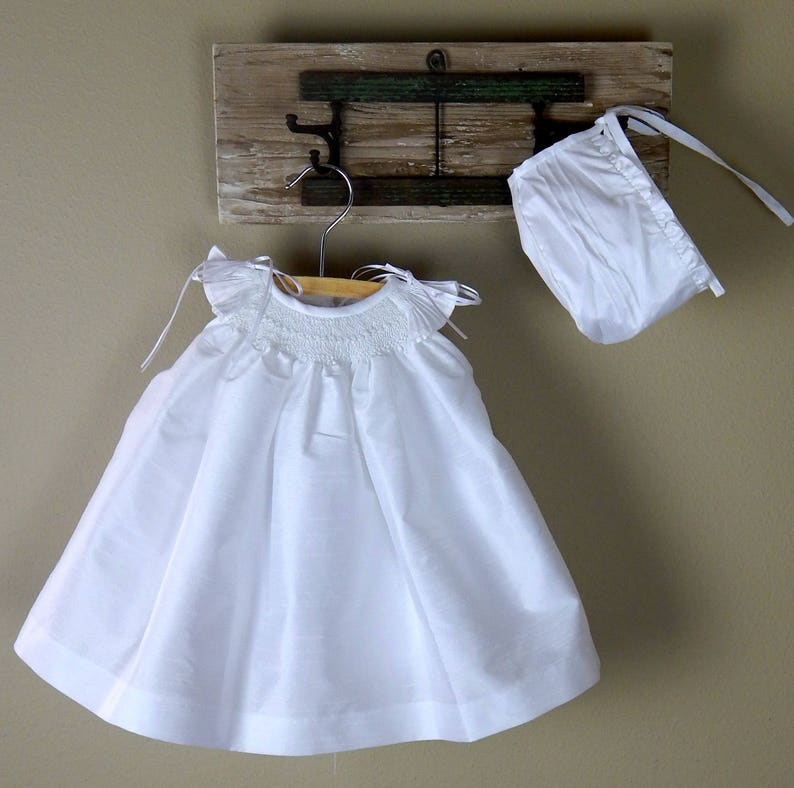 4b0d36a20 White Shantung Christening Gown Baptism dress with bonnet