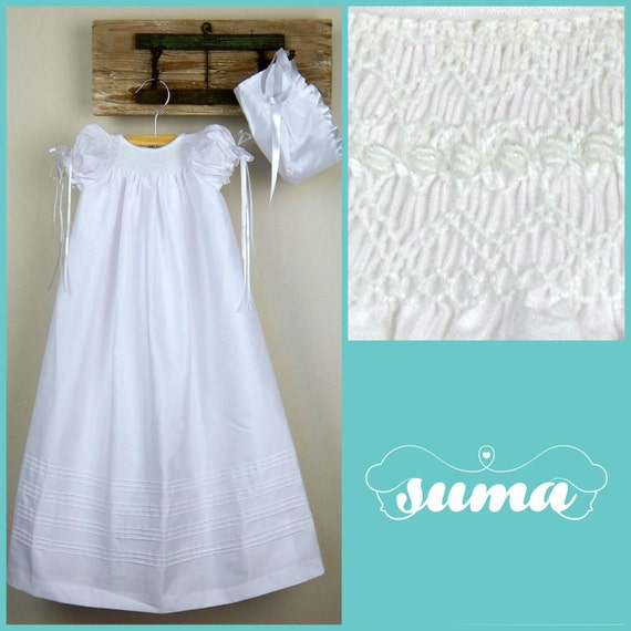 23b5c77b1 Christening Gown Baptism dress Gown with Bonnet Shantung