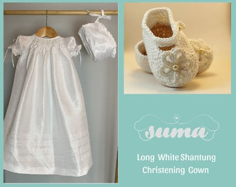 Christening Long Gowns Girls, Baptism Dress Girl, Blessing Gown,  Long Gown Shantung Fabric ,  Free Personalization